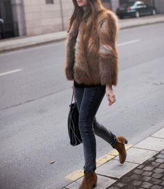 fur and jeans perfect for a fall day or night