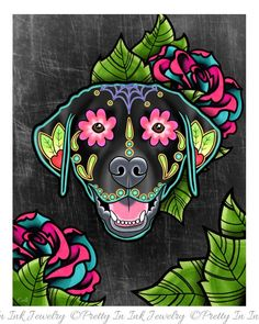 Labrador Retriever in Yellow - Day of the Dead Sugar Skull Dog Art Print by Pretty In Ink Jewelry Sugar Skull Tattoos, Sugar Skull Art, Sugar Skulls, Sugar Skull Painting, Candy Skulls, Body Painting, Dead Dog, Day Of The Dead Art, Wow Art