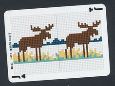 cross stitch moose playing card single swap jack of clubs - 1 card