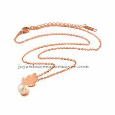 collar de flor y perla en color oro rosado para mujer -SSNEG60745