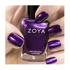 Zoya nail polish in Suri can be best described as: Medium blue-toned purple with delicate red and blue shimmer and a smooth metallic finish. For a perfect royal purple nail with interesting red and blue sparkle detail.