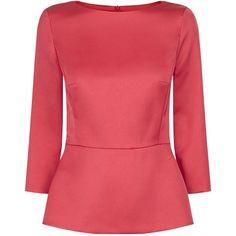 Escada Satin Peplum Blouse (8,150 MXN) found on Polyvore featuring women's fashion, tops, blouses, 3 4 sleeve peplum top, red top, red blouse, 3/4 sleeve tops and red peplum top
