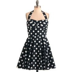 Your style is as sweet as your bakery confections when youre manning your food truck in this darling dress! Its sugar-white polka dots and anise-black fabric a…