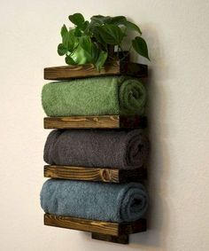18 DIY towel storage ideas for easy bathroom organization . - 18 DIY towel storage ideas for easy bathroom organization … ideas - Bath Towel Racks, Towel Rack Bathroom, Wood Bathroom, Simple Bathroom, Bathroom Ideas, Bath Towel Storage, Modern Bathroom, Bathroom Mirrors, Bathroom Makeovers