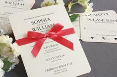 Ecru Round Corner Wedding Invitations with Bright Pink Edge and Bow Wrap, William Arthur