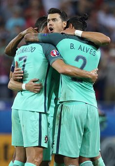 #EURO2016 Cristiano Ronaldo of Portugal celebrates the victory with Jose Fonte and Bruno Alves following the UEFA Euro 2016 semifinal between Wales and...