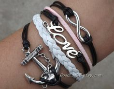 Hipsters jewelryleather Infinity LOVE anchor lovers by goodlucky, $10.29