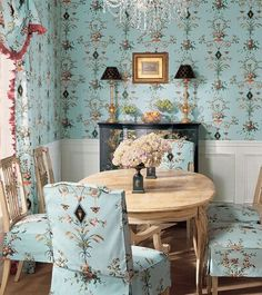 Gorgeous French Country Interior --blue with black and a touch of pink--so lovely