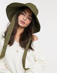 Mango bucket hat with tie in khaki at ASOS. Bucket Hat Outfit, Safari Hat, Future Clothes, Pink Faux Fur, Stylish Hats, Asos, Outfits With Hats, Boho Hairstyles, Khaki Green
