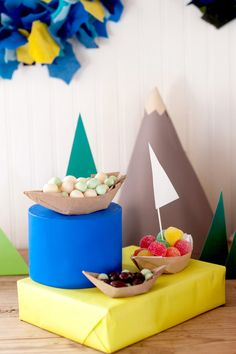 serving candy in a paper boat