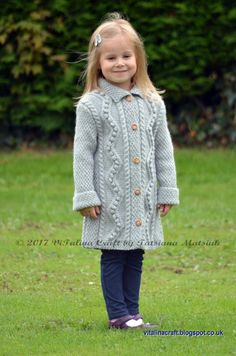 Diy Crafts - Knitting Pattern Diamond Dust Coat Toddler Child and Teen image 1 Diy Crafts Knitting, Knitting For Kids, Baby Knitting, Crochet Coat, Crochet Baby, Coat Patterns, Knitting Patterns, Skirt Patterns, Knitting Charts