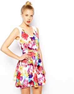 Transfertex digital style floral for Oasis - Printed Skater Dress at ASOS