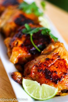 A smoky sweet, richly flavored, dark, charred skin chicken. | Strictly Delicious