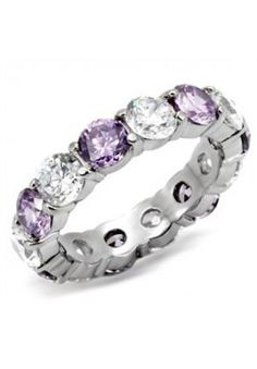 Amethyst and Clear Cubic Zirconia Eternity Ring - Hope Chest Jewelry Jewelry Knots, Jewelry Rings, Jewellery, Jewelry Watches, Jewelry Shop, Wedding Ring Bands, Wedding Jewelry, Cubic Zirconia Rings, Stainless Steel Rings