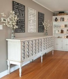 """""""Re-Purposed library filer turned buffet"""" #upcycled Upcycled design inspirations"""