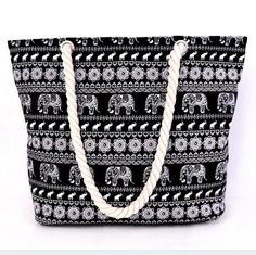 BEARBERRY ANIMAL ELEPHANT PRINTED CANVAS TOTE BAG- Women's Casual Cord Travel Shopping Shoulder Bag Big Rope Beach Handbag MN188