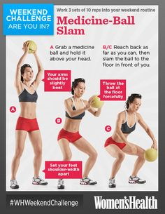 Medicine-Ball Slam: Want a sexy midsection? Grab a medicine ball and hurl it at the ground—the quick up-and-down motion works your core and obliques to get you well-defined abdominal muscles. http://blog.womenshealthmag.com/whexperts/weekend-challenge-medicine-ball-slam/ #WHWeekend Challenge RE-PIN IF YOU'RE IN!