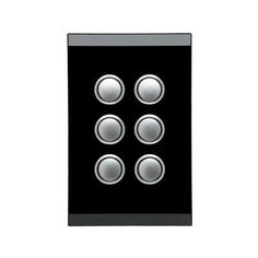 CLIPSAL SATURN 4066PBLEB | 6 Gang Pushbutton LED Switch (Espresso Black) 4066PBL - Clipsal Supplies Online