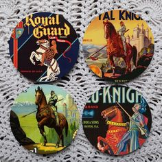 Knights in White Satin  Vintage Fruit Crate Label coasters by Polkadotdog