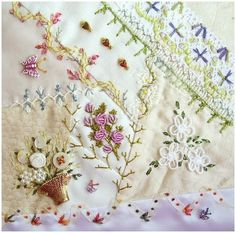 Crazy quilt style embroidery with sheer ribbon border accented by little birds... Very pretty.