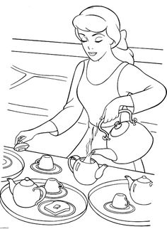 Cinderella Serving Tea Coloring Page