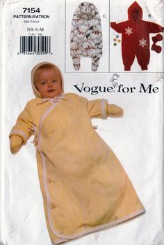 Vogue for Me Sewing Pattern 7154 Infants Bunting Mittens & Cap Nb-sm-m for sale online Vogue Sewing Patterns, Infants, Bunting, Mittens, Reusable Tote Bags, Cap, Boss, Children, Fingerless Mitts