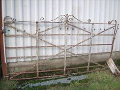 Antique Heavy wrought iron drive way farm gate riveted scroll work 19th Century | eBay