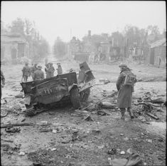 The remains of a universal carrier blown up by a mine in Tilly-sur-Seulles/19 June 1944.