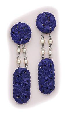 Art Deco Carved lapis lazuli, pearl and platinum drop earrings.