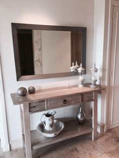 Consola y espejo en platil Deco, Double Vanity, Bathroom, Hall Mirrors, Stripping Furniture, Washroom, Full Bath, Decor, Deko