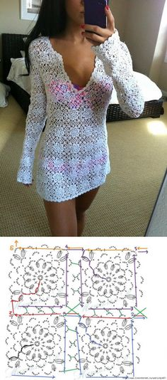 Captivating Crochet a Bodycon Dress Top Ideas. Dazzling Crochet a Bodycon Dress Top Ideas. Crochet Tunic, Crochet Wool, Crochet Clothes, Free Crochet, Crochet Bikini, Crochet Diagram, Crochet Squares, Beautiful Crochet, Clothing Patterns