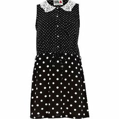 Asos River Island Crochet lace collar spot print Chelsea Girl dress