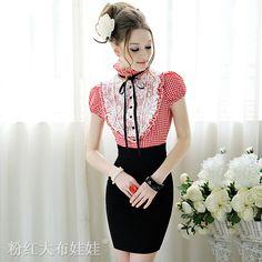 De haute qualité de 2012 été, plaid rouge et blanc en dentelle fine serrées. ruffle short manches. kuraki dans Robes de Vêtements & accessoires sur Aliexpress.com