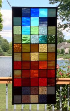 Your place to buy and sell all things handmade Modern Stained Glass Panels, Stained Glass Door, Stained Glass Projects, Stained Glass Patterns, Window Hanging, Window Panels, Stone Fireplace Designs, Glass Room Divider, Saunas