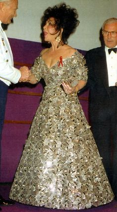 Firm favourite: The actress wore this beautifully structured metallic dress with leaf detailing back in 1992