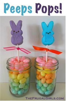Peeps Pops!  What You'll Need:  ◾Peeps  ◾Lollipop Sticks  ◾Mason Jars or Clear Plastic Cups  ◾Jelly Beans  ◾Ribbon  What You'll Do:  ◾Fill your mason jar or clear plastic cup with jelly beans  ◾Gently poke a lollipop stick into your peep.  {ouch, I know… but they'll forgive you}  ◾Insert your peeps pop into the jelly beans, and you're done!  ◾You can tie on some little ribbon for an extra splash of color if you'd like to.  ◾How easy is that?!?