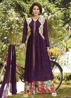 Aspiring Purple Chiffon Designer Embroidery Work Salwar Suit