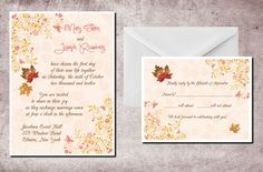 Fall Wedding Invitations & Response Cards Autumn Leaves Leaf Custom Personalized in Home & Garden, Wedding Supplies, Invitations & Stationery | eBay