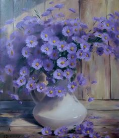 beautiful painting purple wildflowers in a milk pitcher