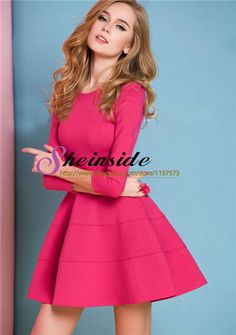2014 New Summer Hot Sale Fashion Red Long Sleeve Ruffle Dress