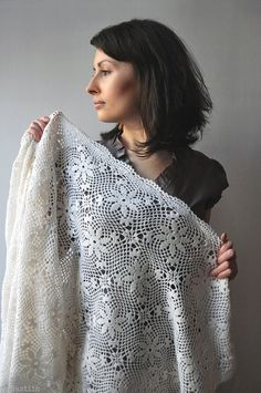 White crochet lace shawl / bridal lace stole / wedding bride wrap / hand crocheted stole wrap / boho chic hippie accessories / gift for her