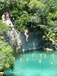 Xel-Ha, Mayan Rivera, Mexico. Cliff jumping, snorkelling.