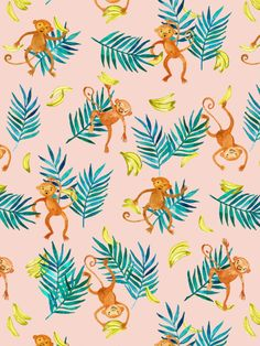 Tropical Monkey Banana Bonanza on Blush Pink Art Print by Micklyn | Society6