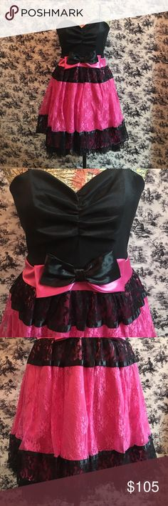 Prom, party, short lace dress black and pink New short lace prom/party dress. Dress it up with heels or more casual with cowboy boots. Dresses Prom
