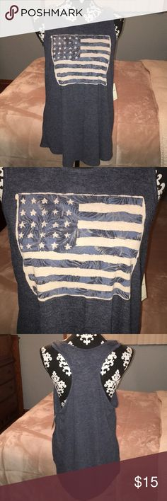 Lucky tank top American flag blue gray tank. BNWT. Bought to wear to a concert and then never wore. Too big for me now. Lucky Brand Tops Tank Tops