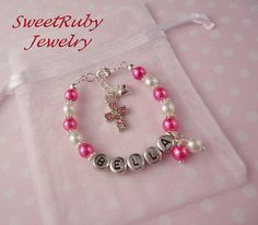 Personalized Newborn Baby Girl Bracelet Gift  by SweetRubyJewelry