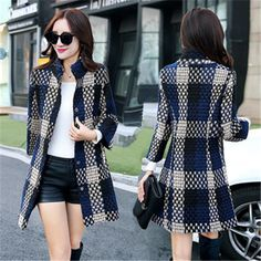 2016 Fashion Slim And Long Sections Winter Coat Women Plaid Three Quarter Sleeve Winter Woolen Jacket For Women Wool Coat ZY992