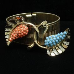 Coro 1946 Bracelet Sterling Silver Articulated Flexible Rhinestone from eccentricitycharm on Ruby Lane