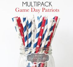 Game Day Patriots  Straw Multipack Limited by MoreSprinkledJoy #patriots #Superbowl2014