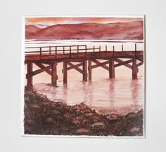 #Tighnabruiach Pier, Argyll & Bute, #Scotland I painted a sunset looking over Kyles to #Bute